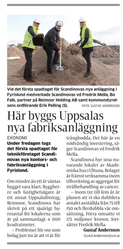 First ground broken for the new ScandiNova Uppsala Office and Production Plant
